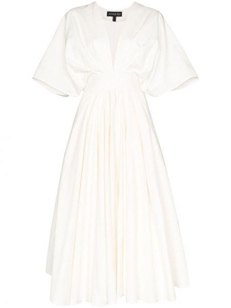 Расклешенное платье миди с декольте с оборками на молнии Anouki