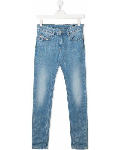 Облегающие синие джинсы-скинни на пуговицах Diesel Kids
