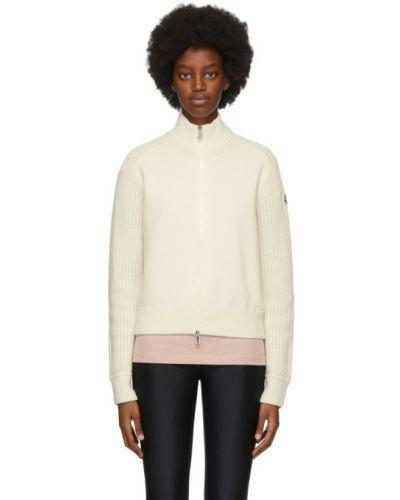 Белый длинный свитер с воротником двусторонний Moncler