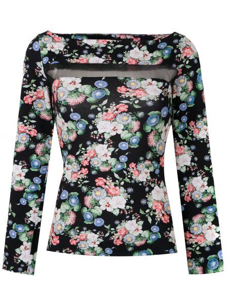 Черная блузка с длинным рукавом из фатина с вырезом узкого кроя Gloria Coelho