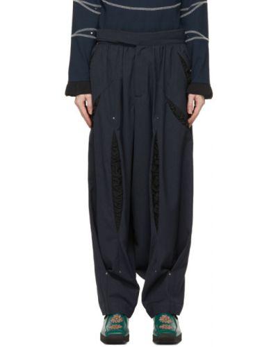 Satynowe czarne spodnie z paskiem Kiko Kostadinov