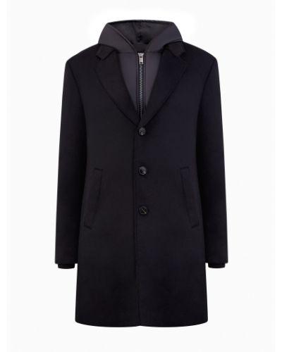 Шерстяное черное длинное пальто с капюшоном Cudgi