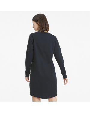 Свободное черное платье в рубчик Puma