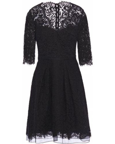 Хлопковое кружевное черное платье Carolina Herrera