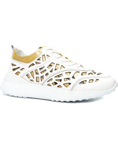 Кожаные белые кроссовки с перфорацией Guero