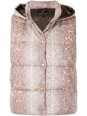 Beżowa kamizelka z printem Unreal Fur