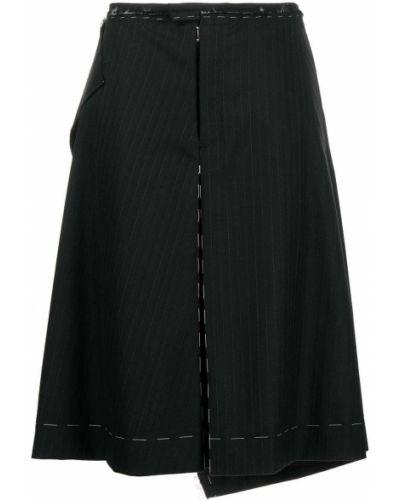 Шерстяная черная юбка с разрезом Maison Margiela