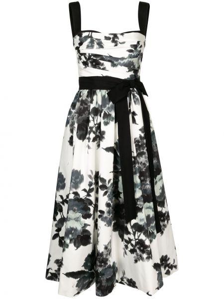 Прямое белое платье без рукавов Carolina Herrera