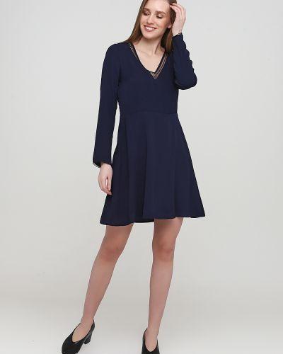 Расклешенное синее платье с длинными рукавами Sweewe