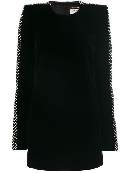Платье шелковое черное Saint Laurent