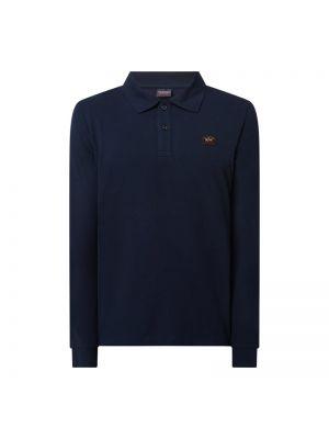 Niebieski t-shirt z długimi rękawami bawełniany Paul & Shark