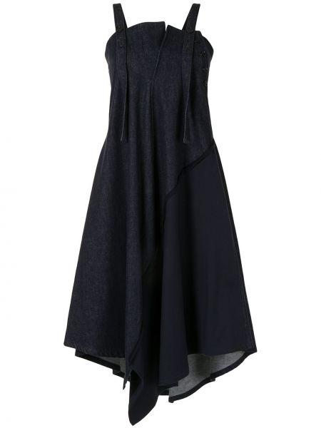 Синее платье миди без рукавов с вырезом Y`s