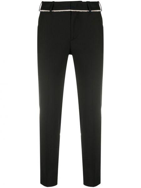 Прямые шерстяные черные брюки на крючках Pt01