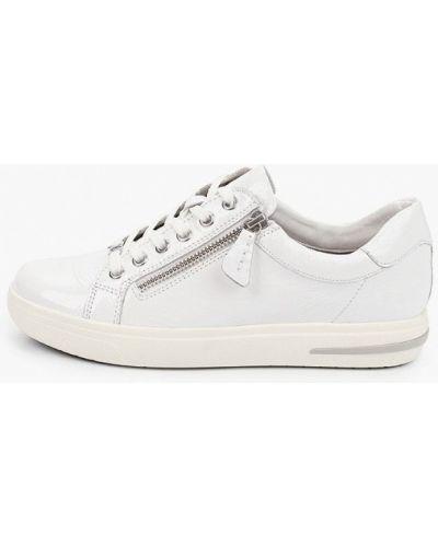 Лаковые кожаные белые низкие кеды Caprice