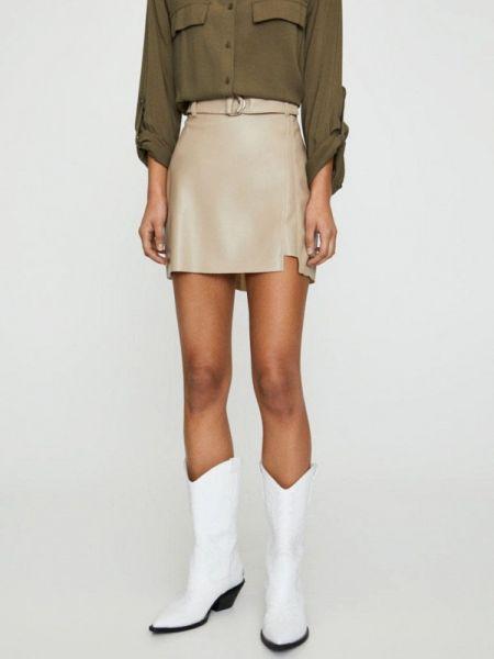 Кожаная юбка бежевый осенняя Pull&bear