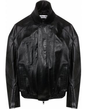 Кожаная куртка черная с подкладкой Balenciaga