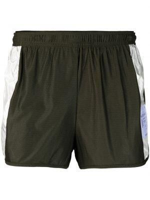 Zielone krótkie szorty do biegania srebrne Satisfy