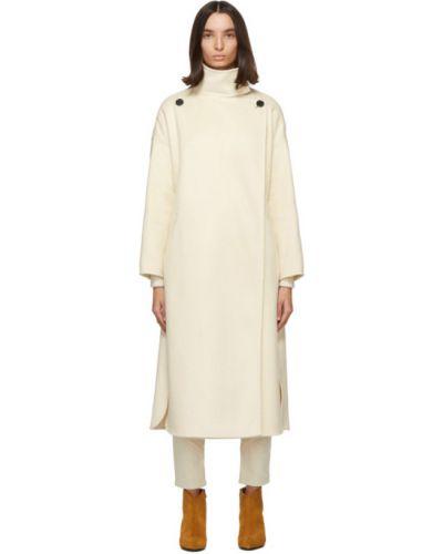 Белое кашемировое длинное пальто с воротником Isabel Marant