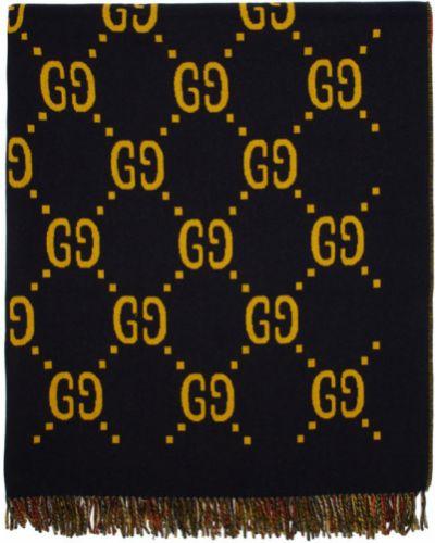 Czarny ponczo wełniany Gucci