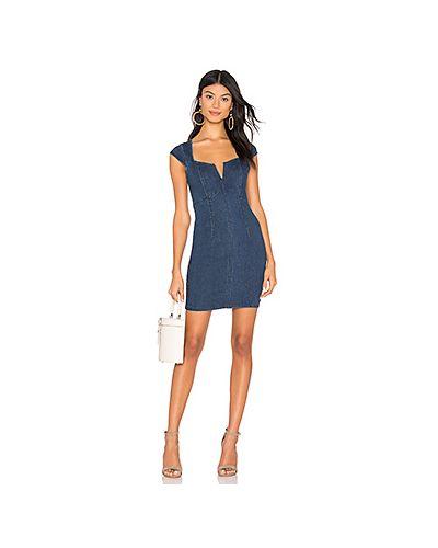 Платье мини джинсовое с V-образным вырезом Free People