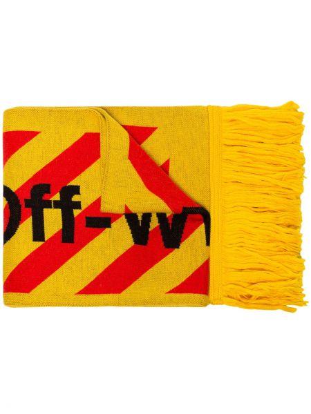 Żółty szalik wełniany z frędzlami Off-white