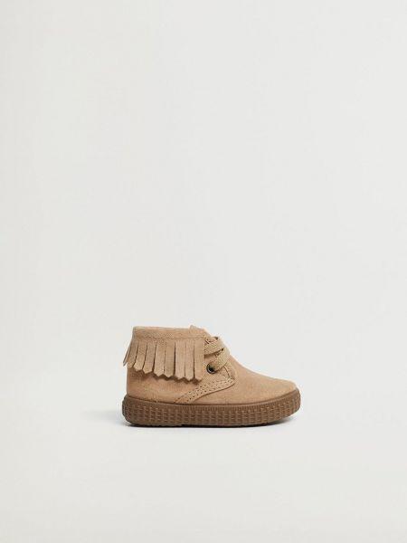 Кожаные ботинки - бежевые Mango Kids