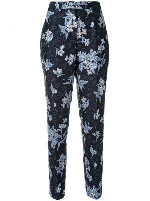 Шелковые брюки - синие Delpozo