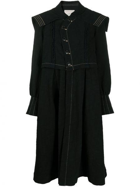 Хлопковое черное длинное пальто на пуговицах Renli Su