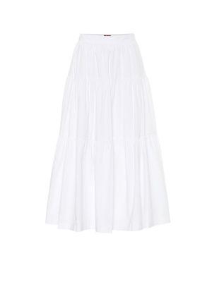 Ватная хлопковая белая юбка миди в рубчик Staud