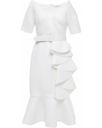 Бежевое платье с поясом на крючках Badgley Mischka