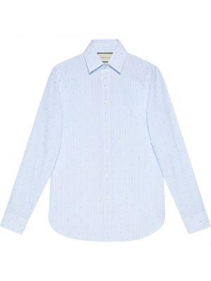 Niebieski bawełna z rękawami koszula Gucci