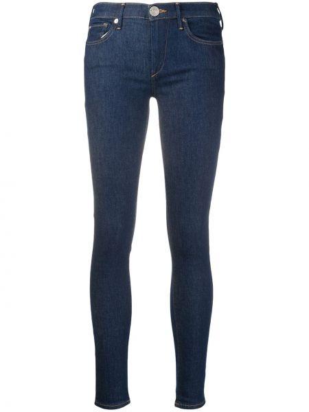 Хлопковые синие джинсы-скинни с низкой посадкой на молнии True Religion
