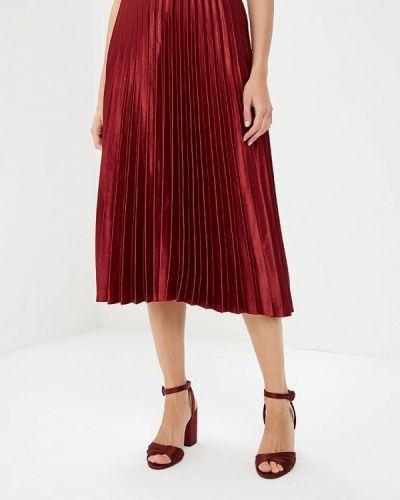 Плиссированная юбка красный бордовый Zarina