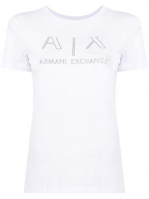 Белая прямая футболка с короткими рукавами с принтом Armani Exchange