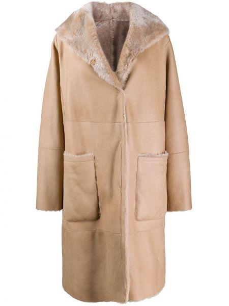 Однобортное кожаное пальто классическое с капюшоном Manzoni 24