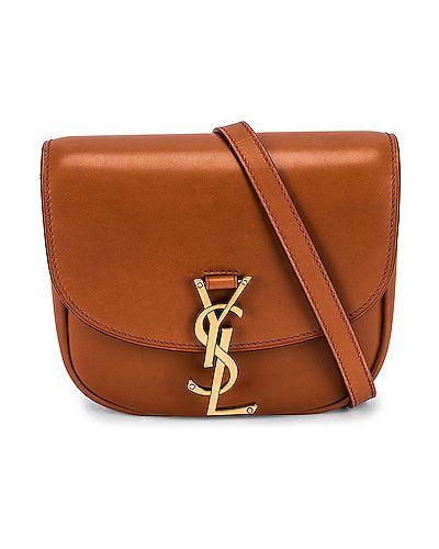 Коричневый кожаный ранец с карманами Saint Laurent