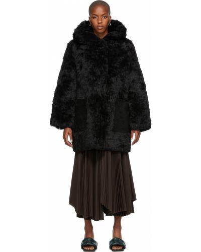 Черное пальто с карманами Yves Salomon Meteo