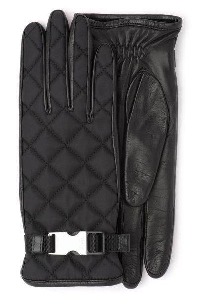 Стеганые черные перчатки Prada