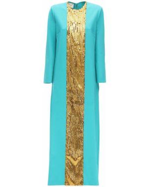 Синее платье макси с пайетками с декольте с длинными рукавами Gucci