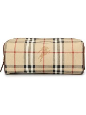 Коричневая кожаная сумка круглая на молнии с декоративной отделкой Burberry Pre-owned