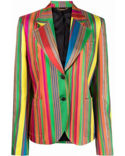 Удлиненный пиджак в полоску с воротником на пуговицах Versace