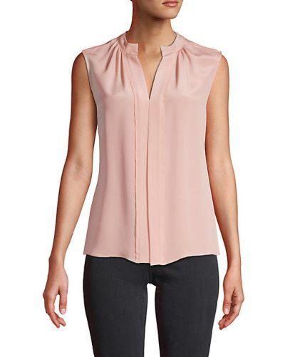 Плиссированная шелковая блузка без рукавов Derek Lam