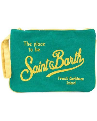 Хлопковый зеленый клатч с вышивкой на молнии Mc2 Saint Barth