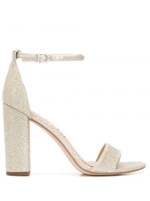 Złote sandały na obcasie peep toe Sam Edelman