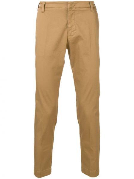 Хлопковые классические коричневые классические брюки с поясом Entre Amis