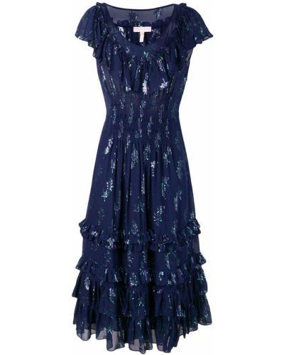 Платье миди с короткими рукавами - синее Rebecca Taylor