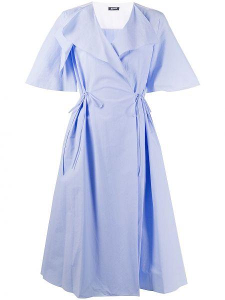 Платье мини с V-образным вырезом синее Jil Sander Navy