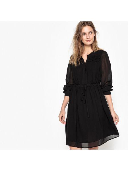 Черное расклешенное платье миди с вырезом из вискозы Sud Express
