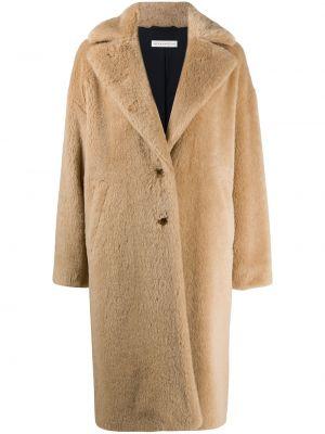 Длинное пальто из альпаки на пуговицах с лацканами Inès & Maréchal