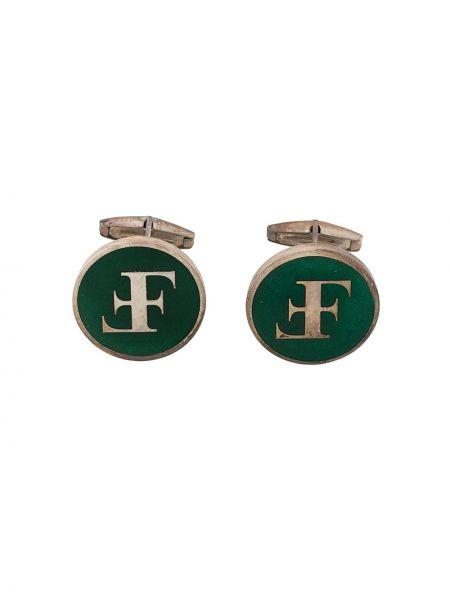 Spinki do mankietów srebrne - zielone Gianfranco Ferré Pre-owned